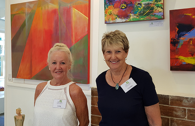 GALLERIES IN THE GARDENS MEMBERS: Lesly Stevenson and Carolyn Morrison.