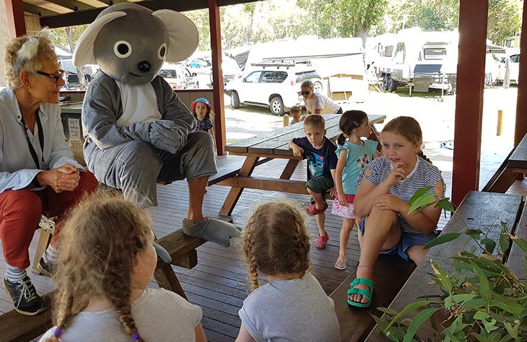 JIMMY'S BEACH CARAVAN PARK: Koala Classes with Adrienne Ingram and 'Ken the Koala'.