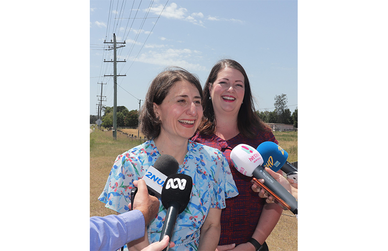 NSW Premier Gladys Berejiklian and Liberal Candidate for Port Stephens Jaimie Abbott announce Liberal Government $205 Million Dollar pledge for Nelson Bay Road Duplication at Salt Ash. Photo by Marian Sampson.