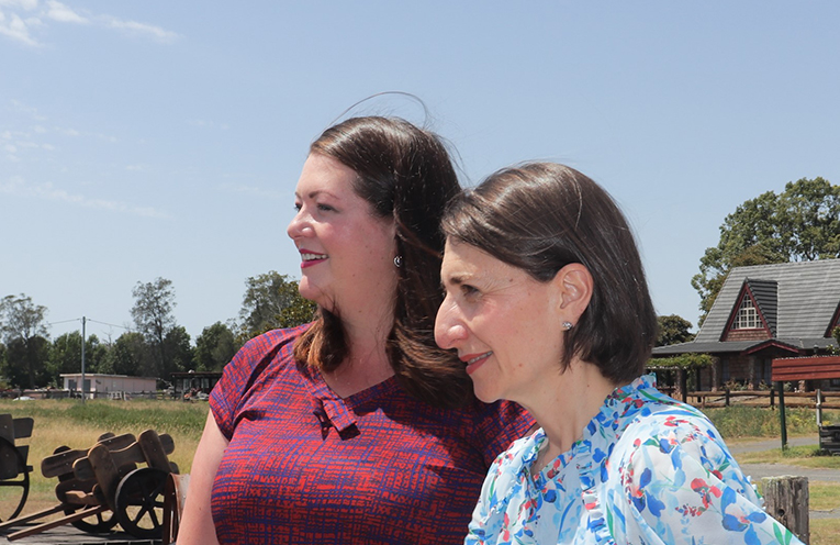 Port Stephens Liberal Candidate Jaimie Abbott and Gladys Berejiklian looking forward to a strong future for Port Stephens. Photo by Marian Sampson.