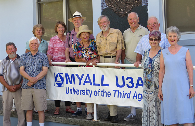 MYALL U3A Committee: Front Row David Benson, Ray Keipert, Liz Swane and  Barbara Lyle. Back Row.   Barbara Scott,  Julie Taylor,  John Williams,  Lyn Chaikin,  Warwick Nichols,  Les Fielke and Roger Digby.