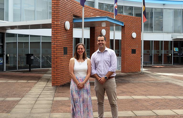 Port Stephens' Australia Day Ambassador Kathy Rimmer with Mayor Ryan Palmer.