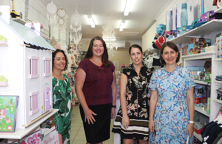 Katie Diemar, Jessica Palmer, Premier Gladys Berejiklian and Liberal Candidate in Bella Rose Boutique in Nelson Bay. Photo by Marian Sampson.