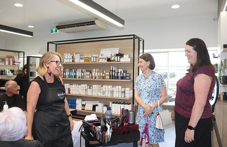 Amanda Boone of Arteke Salon Collective with Premier Gladys Berejiklian and Liberal Candidate Jaimie Abbott. Photo by Marian Sampson.
