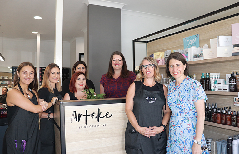 Amanda Boone of Arteke Salon Collective with the Premier Gladys Berejiklian and Liberal Candidate Jaimie Abbott. Photo by Marian Sampson.