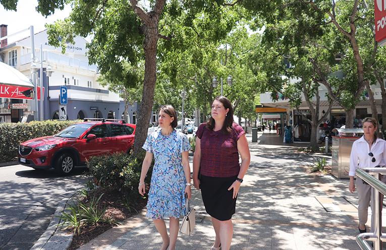 The Gladys Berejiklian and Liberal Candidate Jaimie Abbott walking through Nelson Bay CBD. Photo by Marian Sampson.