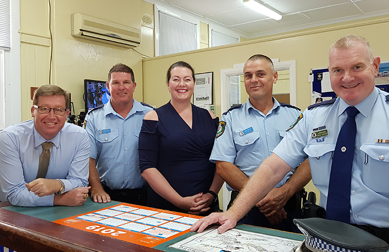TEA GARDENS VISIT: NSW Police Minister Troy Grant, Senior Constable Dave Coyle, Liberal Candidate Jaimie Abbott, Senior Constable Rob Wylie, Port Stephens Superintendent Craig Jackson.