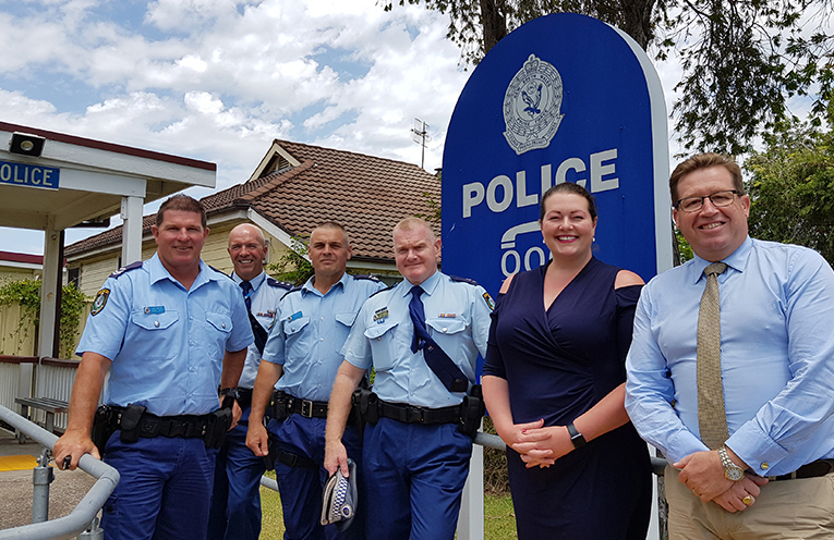 TEA GARDENS POLICE STATION UPGRADE: Senior Constable Dave Coyle, Inspector Alan Janson, Senior Constable Rob Wylie, Superintendent Craig Jackson, Liberal Candidate Jaimie Abbott and NSW Police Minister Troy Grant.