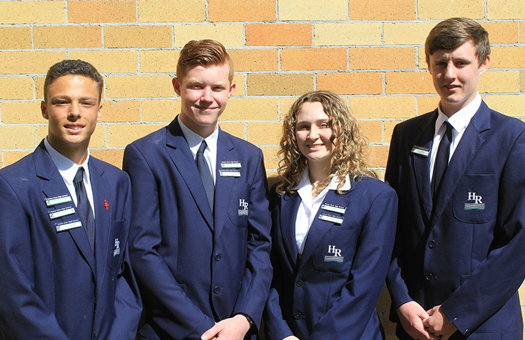 Hunter River High School 2019 Captains Kane Chester, Dylan Eyb, Megan Snow and Josh Kirkpartick