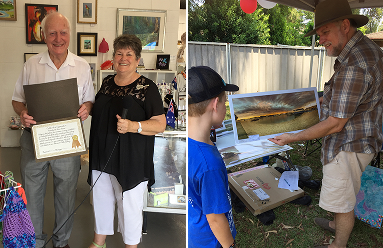 TAG member Vic Marden accepting the certificate of appreciation on behalf of Alan Steane. (left) TAG artist Christopher Johns explains the intricate process of fine art photography to 10 year old Hunter Thoburn. (right)