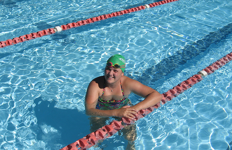 Lapping it up – Madai maintaining her fitness at the Tilligerry Aquatic Centre.