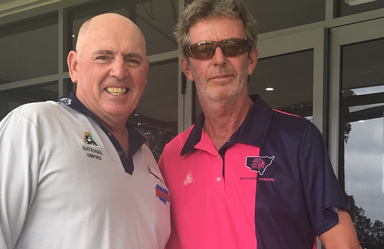 Severe but fair Nationally accredited Umpires Trevor Davies (L) and Peter Joass taking care of business.