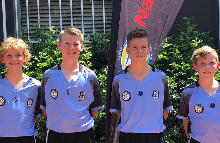The Port Stephens boys in the National Futsal Championships (L-R): Ashton Morrissey, Riley Marmont, Lucas Caines, and Noah McKimm (photo supplied).