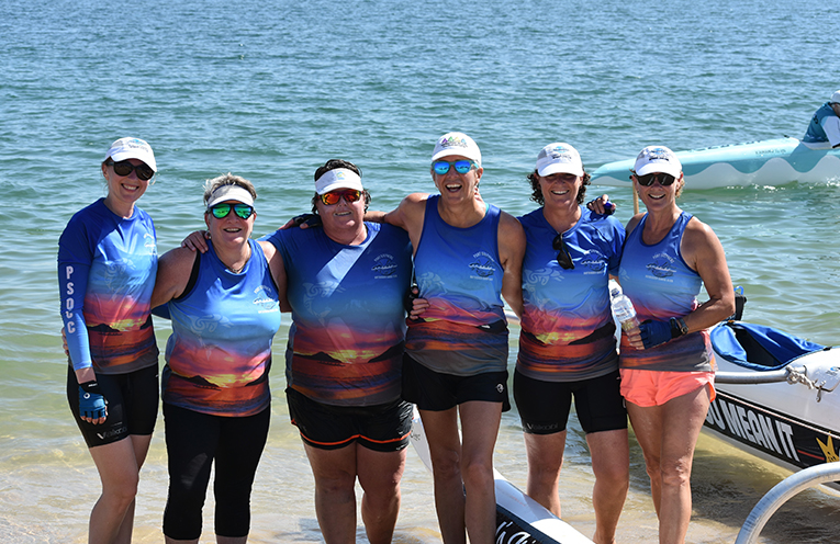 Port Stephens Outrigger Canoe Club's Pasha Dash crew Jean Brown, Donna Mann, Andrea Wellings, Emma Barry, Alice Smith, Iryna Kyrychenko.