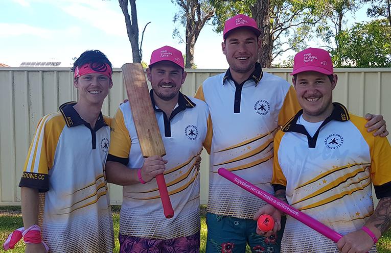 Ashley Burke, Taylor Reynolds, Josh Cappiello and Aiden Bartley from Medowie Cricket Club.