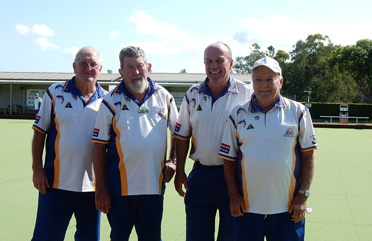 Mark Hair side after their quarter-final win. Geoff Page, Dave Benson, Mark Hair and Gary Wynne.