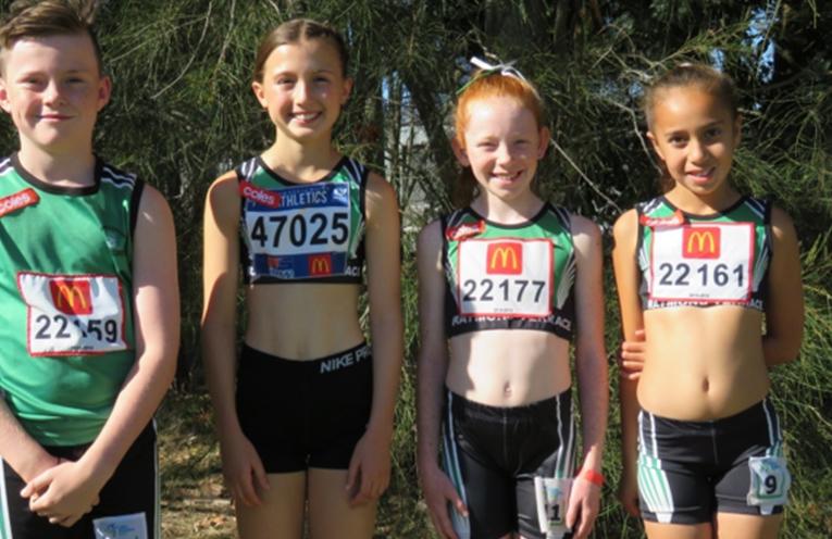 Junior Record Breakers (LtoR)– Under 11 Cooper McKenna, Under 12 Sienna Newton, Under 11 Dixie Conlon and Under 9 Cadence Hostler.