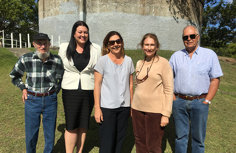 Councillor Jaimie Abbott, and Deputy Mayor Sarah Smith with some of the action group who have been opposing the development of the parkland.