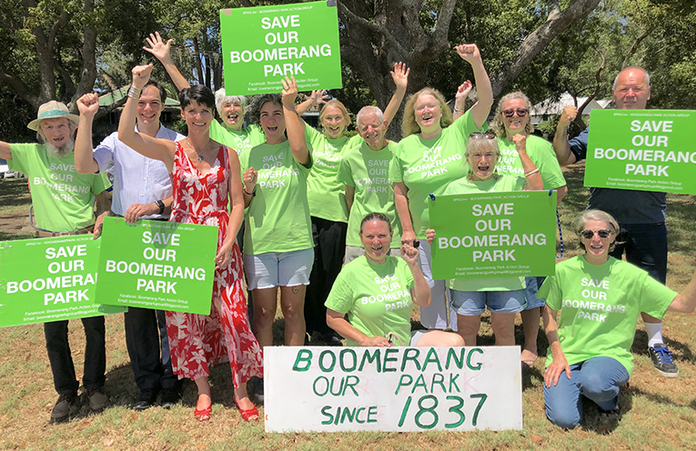 Member for Port Stephens Kate Washington with COuncillor Giacomo Arnott and community members celebrating the too short lived reprieve for the park after the last COuncil meeting.