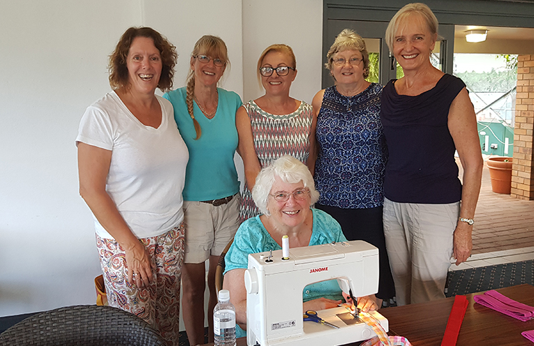 BOOMERANG BAG VOLUNTEERS: Julie Sims, Jane Holtom, Liz O'Connor, Marion Smith, Sandra McEvoy and Wendy Scully (seated).