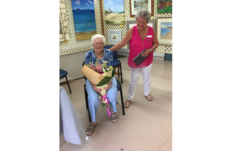 SPECIAL PRESENTATION: Founding Member Joan Wilcox with Dianne Taylor.