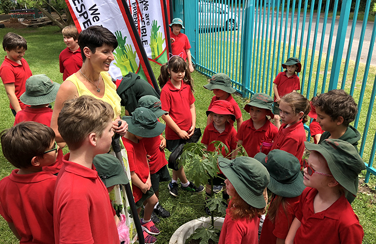 Member for Port Stephens Kate Washington with students at Bob's Farm Public School.