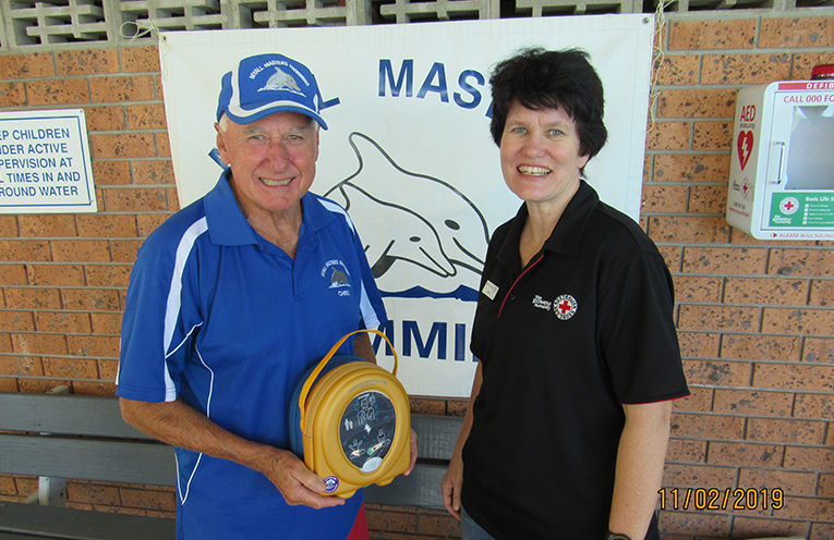DEFIBRILLATOR LAUNCH: Myall Masters President Chris Lock and Kylie Ledger, Red Cross.