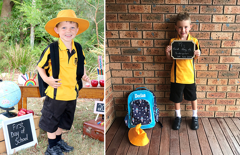 """Archie Green, Medowie Public School """"School is awesome!"""" (left)  Declan Peck, Medowie Public School, """"I get to go five days a week now and then I can be an army firefighter."""" (right)"""