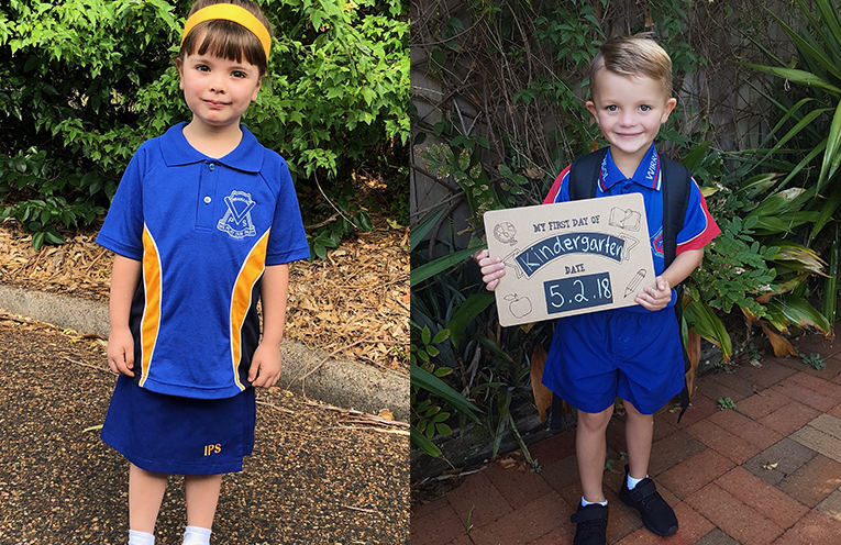 """Kaitlyn Osborn, Irrawang Public School yesterday, """"My favourite thing about school so far is painting, sandpit and making new friends."""" (left)  Tatum Burgess, Wirreanda Public School. (right)"""