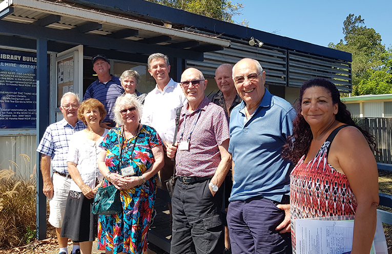 HAWKS NEST VISIT: Dr David Gillespie with members of the U3A and Progress Association.