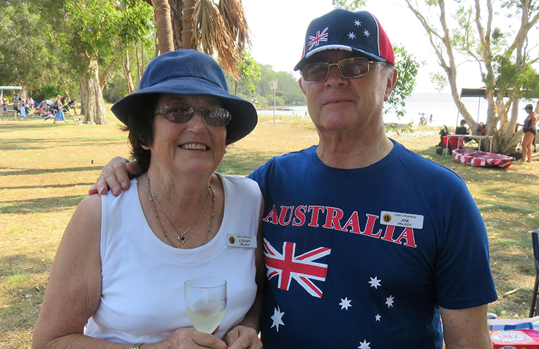 Lesley and Joe Palagy at Sunset Beach celebrating Australia Day with the Probus Club of Port Stephens.