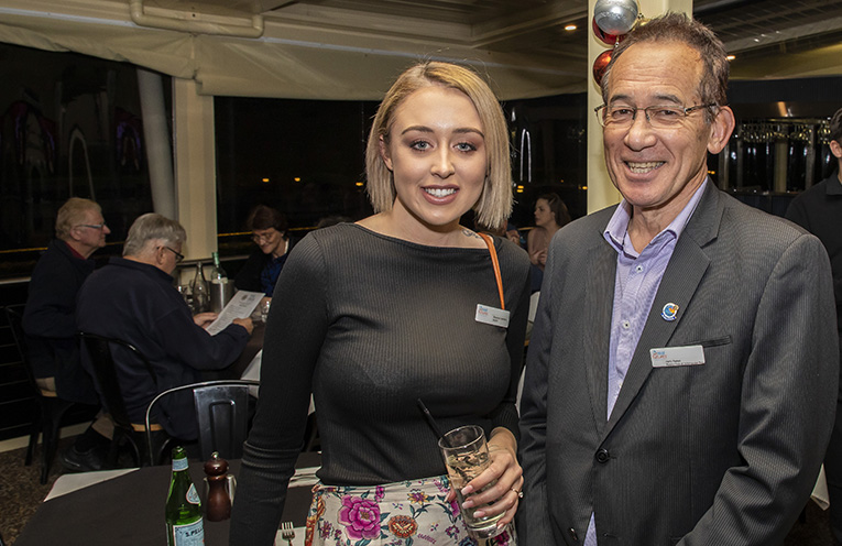 Real Futures Foundation Program Alumni Rhiannon Harrison with Salamander Bay Rotarian and Real Futures Foundation supporter Harry Parker. Photo by Henk Tobbe.