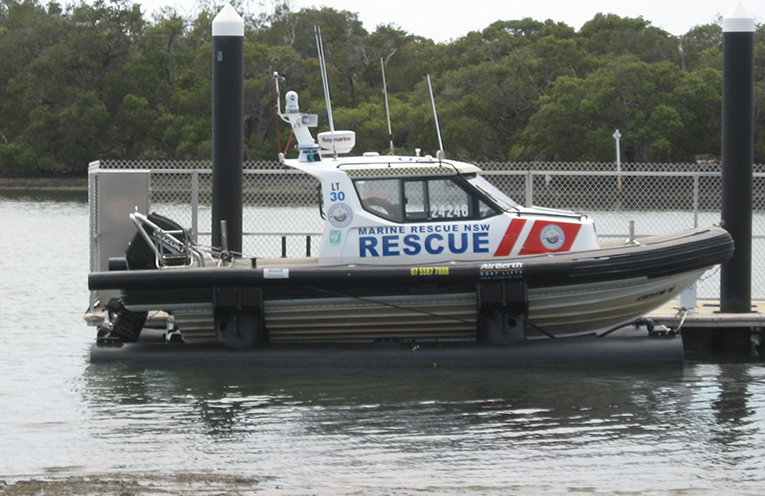 High and dry: The current rescue vessel in its cradle at the LTP waterfront.