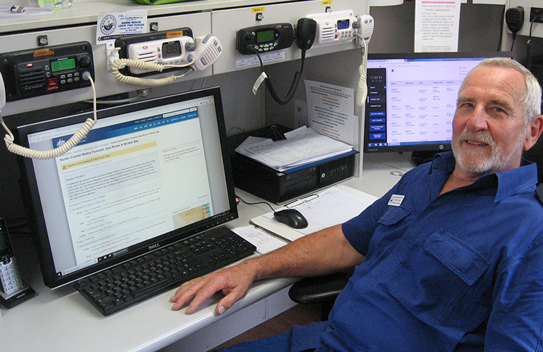 Monitoring the airwaves: Commander Rick Tyler at the base station at the top of Whitbread Avenue in Lemon Tree.