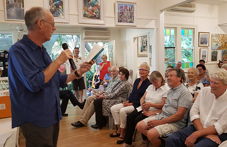 GALLERIES IN THE GARDENS: David Ingram helps launch 'A Lawyer in Paradise'.