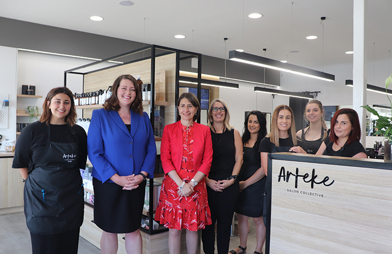 Amanda Boone and the team at Arteke Salon Collective with Liberal Candidate for Port Stephens Jaimie Abbott with NSW premier Gladys Berejiklian. Photo by Marian Sampson.