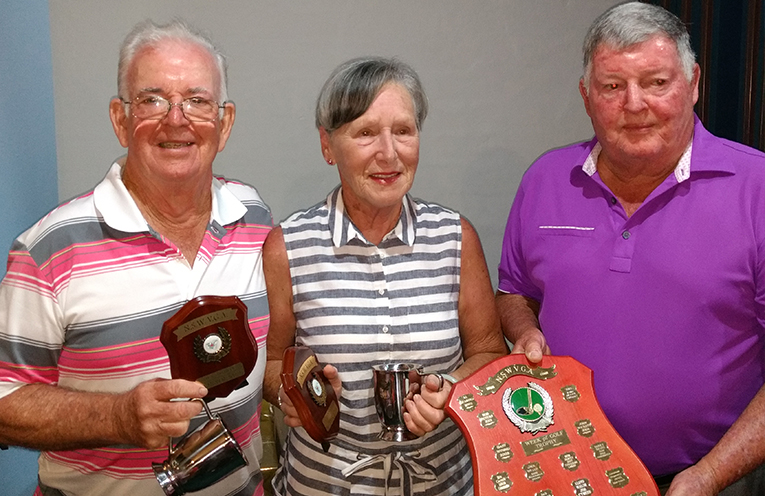 VETERANS WINNERS: PHOTO: Ron Boundy from Shelly Beach, Margaret Wood from Beverley Park and Ian Vidler, President of the NSW Veteran Golfers Assoc,