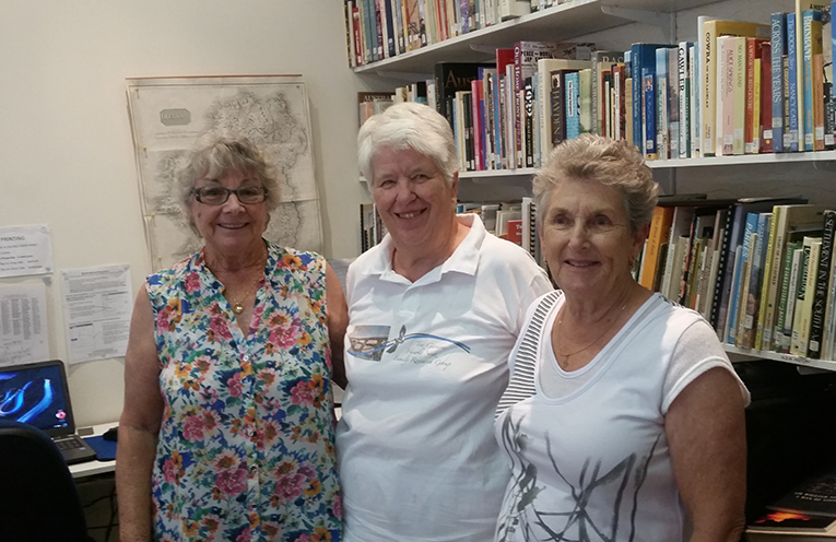 FOUNDATION MEMBERS: Lesley Turner, Librarian Shirley Cox and Margaret Munright.