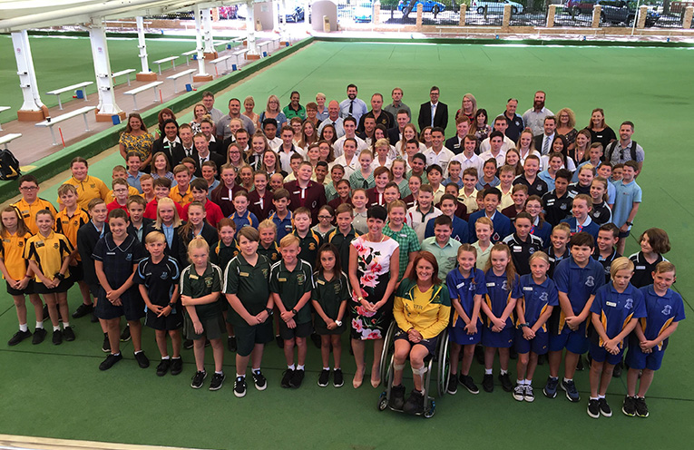 Student leaders from twenty four schools across Port Stephens with local MP Kate Washington and Paralympian and MP for Gosford Leisl Tesch