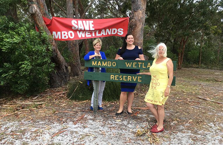 Catherine Cusack MLC, Cr Jaimie Abbott, and Irene Jones of WetCon at the Mambo Wanda Wetlands Site. Photo by Marian Sampson.