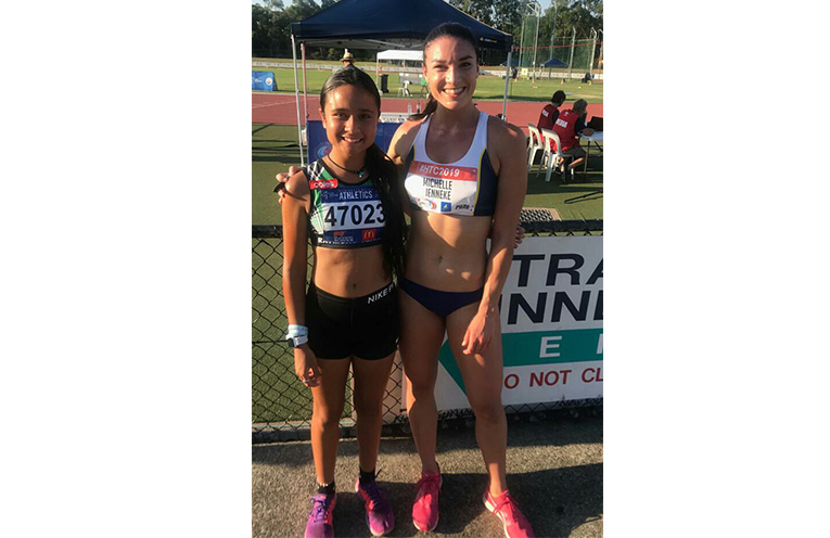 COUNTRY ATHLETICS CHAMPIONSHIPS: Keira McGregor with Olympian Michelle Jenneke.