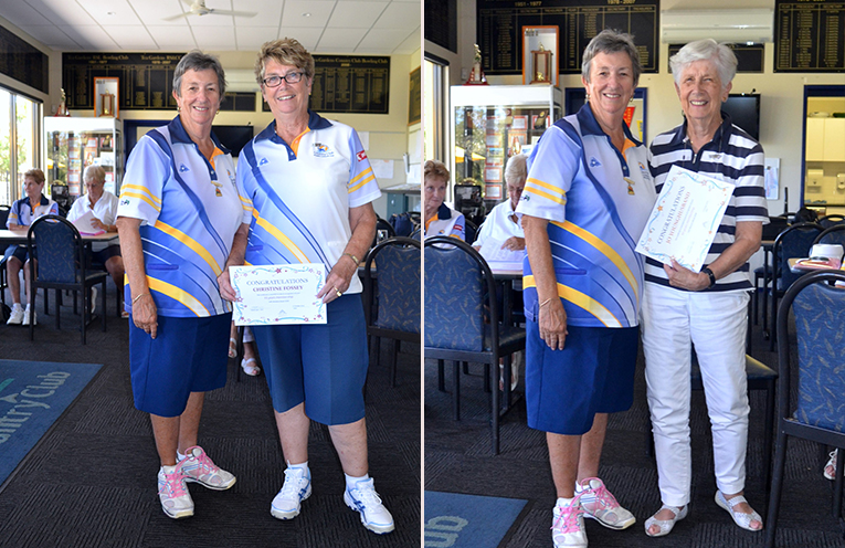 President Robyn Webster and Christine Fossey, 10 year membership NSWWBA. (left) Robyn Webster and Jo Younghusband, 40 year membership NSWWBA. (right)