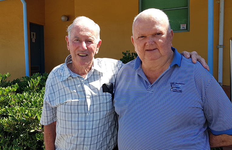 VETERANS GOLF WEEK: Brian Barron with Tournament Organiser Bob Macklinshaw.