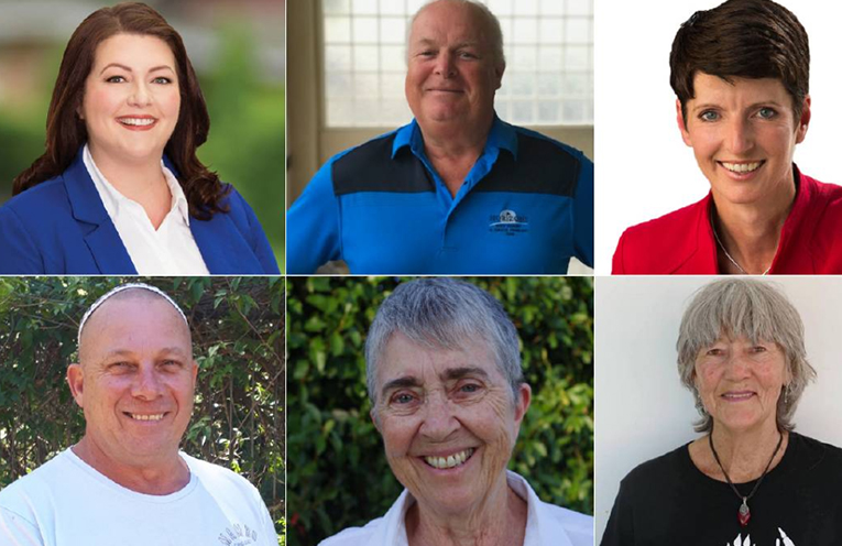 Port Stephens' candidates from top left and in order of ballot paper appearance are: Jaimie Abbott, Bradley Jelfs, Kate Washington, Bill Doran, Maureen Magee and Theresa Taylor.