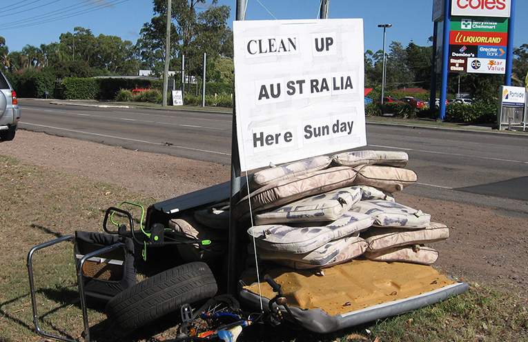 Collected rubbish builds up at RAF Park'