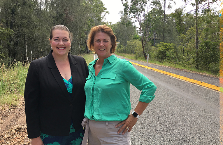 Liberal candidate Jaimie Abbott with NSW Roads Minister Melinda Pavey announcing Port Stephens share in the Pary's promised $1Billion investment in roads.