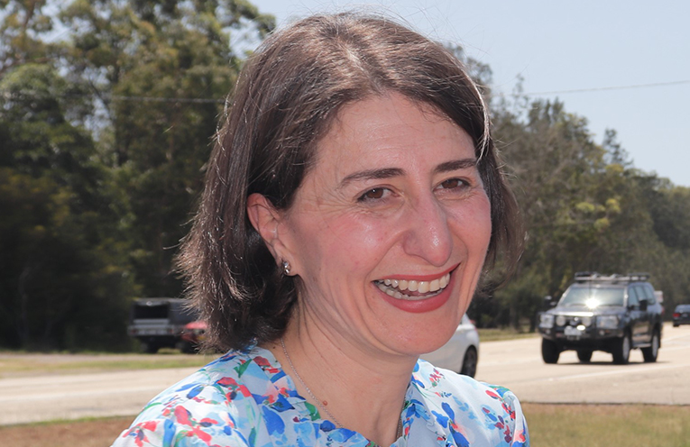 NSW Premier Gladys Berejiklian promising the duplication of Nelson Bay Road from Williamtown to Bob's Farm. Photo by Marian Sampson.
