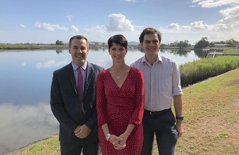 Mayor Ryan Palmer, Kate Washington MP with Cr Giacomo Arnott at the announcement of Labor Regional Roads Funding.