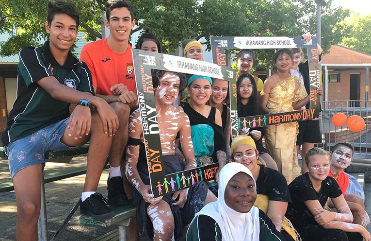 Irrawang High School students celebrating diversity at Harmony Day celebrations.