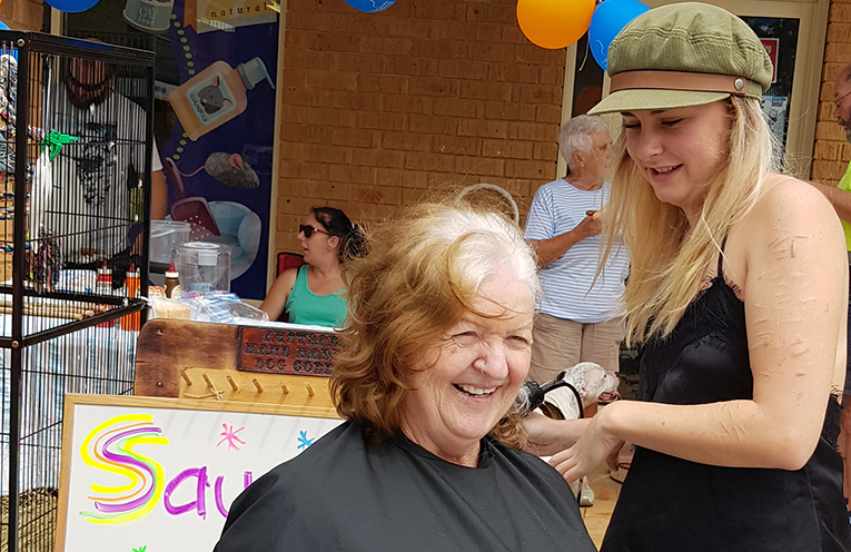 WORLD'S GREATEST SHAVE: Linda Trappitt and Charlie Burns.